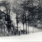 Rijksweg met café Halfweg (Vervoort) in 1910. Achter het café de Groesbeekseweg. Het café stond op de plaats van de huidige Rabo bank, zo'n 10 meter vanaf het fietspad. Foto 119