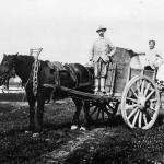 Voerman Jan Gommers (links) tijdens graven van het Maas-Waal kanaal van 1920 – 1926. Vele Maldenaren vonden werk bij het graven van het kanaal omdat ze van alleen de boerderij niet konden leven. Met snor Gradje Peters. Achterop de wagen Theunissen (bijgenaamd Toon de Rus).