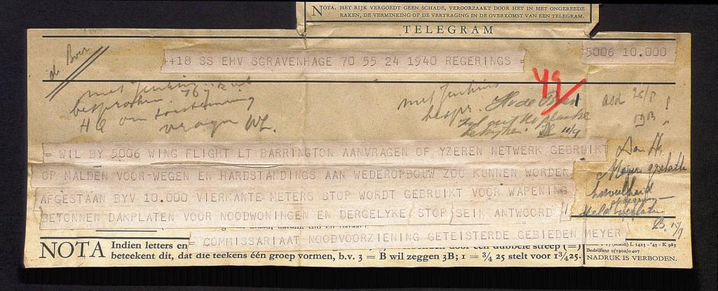 Telegram van de Hr Meijer van het Commissariaat Noodvoorziening aan de 5006 Wing Flight t.a.v. Lt Barrington